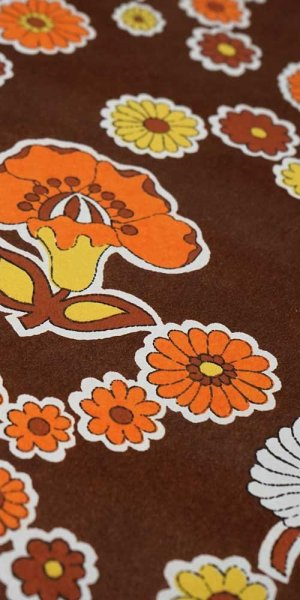 70s flower wallpaper #0725A
